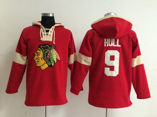 2014 Old Time Hockey Chicago Blackhawks #9 Bobby Hull Red Hoodie