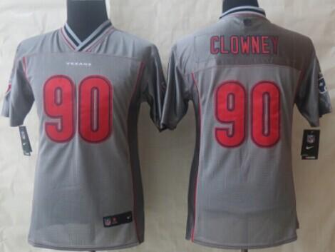 86197f4b6 ... Nike Houston Texans 90 Jadeveon Clowney 2013 Gray Vapor Kids Jersey ...