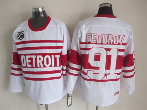 ... NHL Jersey Detroit Red Wings 91 Sergei Fedorov White 75TH Throwback CCM  Jersey ... c56b8ccf4