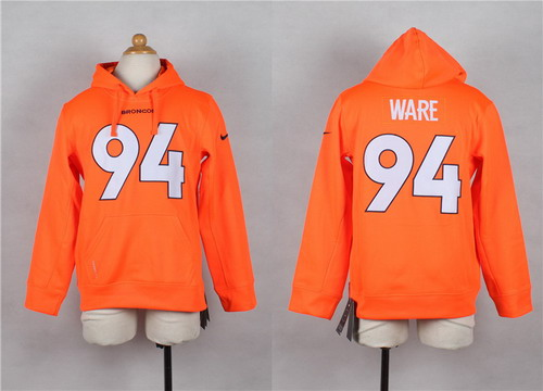 Nike Denver Broncos #94 DeMarcus Ware Orange Kids Hoodie