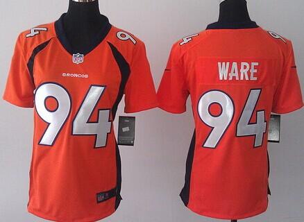 nike denver broncos 94 demarcus ware 2013 orange game womens jersey