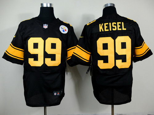 ... Nike Pittsburgh Steelers 99 Brett Keisel Black With Yellow Elite Jersey  ... ea3014393