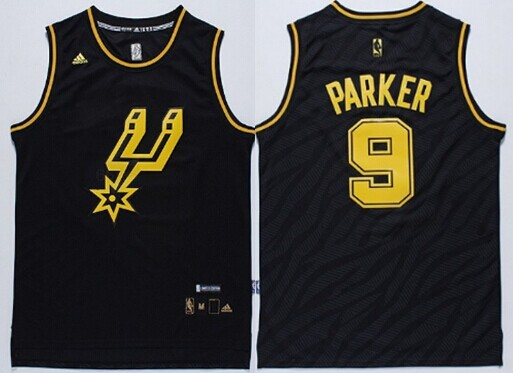 ... San Antonio Spurs 9 Tony Parker Revolution 30 Swingman 2014 Black With  Gold Jersey Adidas NBA ... 8a4efaf34