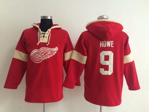 ... 2014 Old Time Hockey Detroit Red Wings 9 Gordie Howe Red Hoodie ... 04a14fcb3