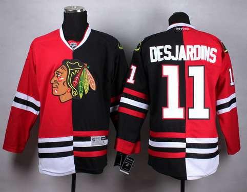 ... Chicago Blackhawks 11 Andrew Desjardins RedBlack Two Tone Jersey Mens  ... 42d7d6e91