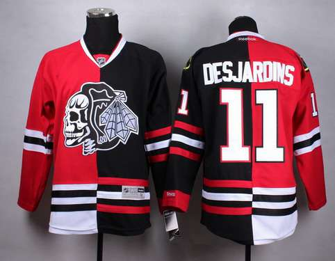 d673f4d9af1 ... 33 Chicago Blackhawks 11 Andrew Desjardins RedBlack Two Tone With Black Skulls  Jersey Chicago Blackhawks 11 Andrew Desjardins Red ...