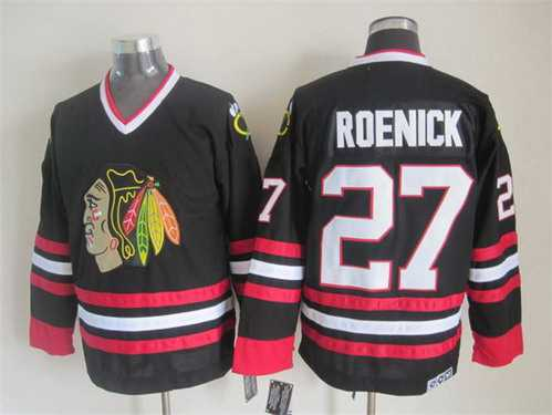 5c7b8a2f6 ... Chicago Blackhawks 27 Jeremy Roenick Black CCM Vintage Throwback Jersey  ...