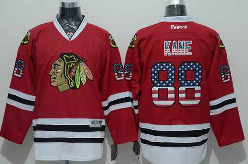 Chicago Blackhawks 88 Patrick Kane USA Flag Fashion Red Jersey ... 243a4bef1