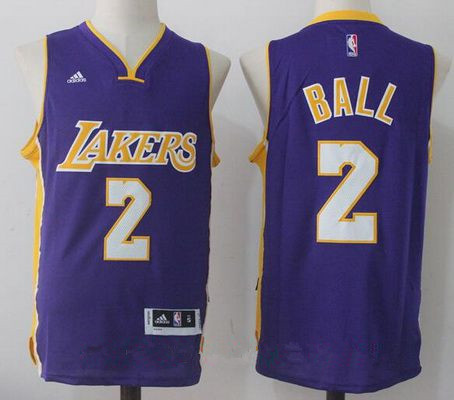 Men's 2017 Draft Los Angeles Lakers #2 Lonzo Ball Purple Stitched NBA adidas Revolution 30 Swingman Jersey