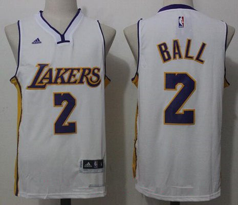 Men's 2017 Draft Los Angeles Lakers #2 Lonzo Ball White Stitched NBA adidas Revolution 30 Swingman Jersey