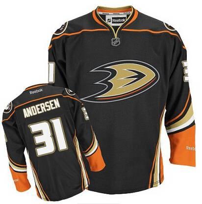 Men's Anaheim Ducks #31 Frederik Andersen Black Third Jersey
