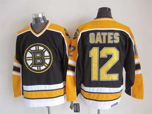 Men's Boston Bruins #12 Adam Oates 1996-97 Black CCM Vintage Throwback Jersey