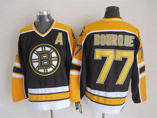 Men's Boston Bruins #77 Ray Bourque 1996-97 Black CCM Vintage Throwback Jersey