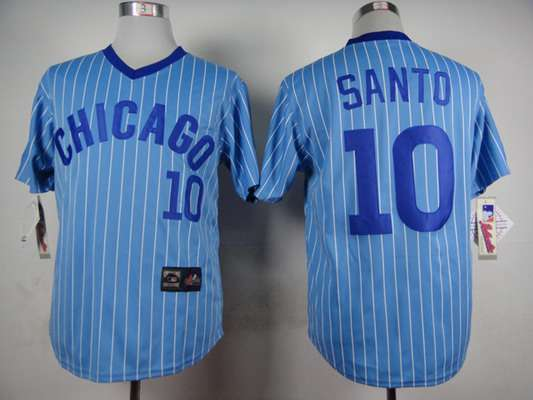 mens chicago cubs 10 ron santo 1988 light blue majestic jersey .