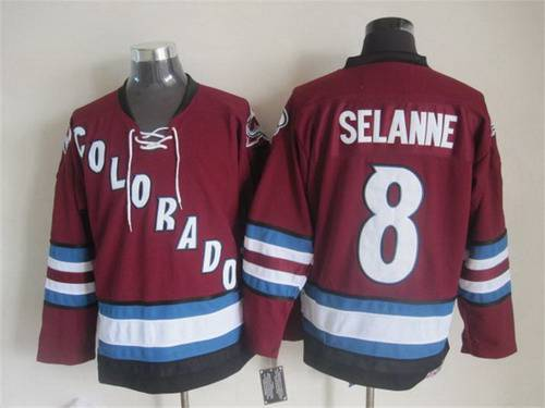 Men's Colorado Avalanche #8 Teemu Selanne 2001-02 Red CCM Vintage Throwback Jersey
