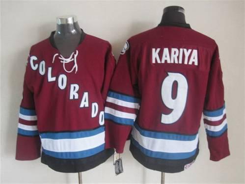 Men's Colorado Avalanche #9 Paul Kariya 2001-02 Red CCM Vintage Throwback Jersey