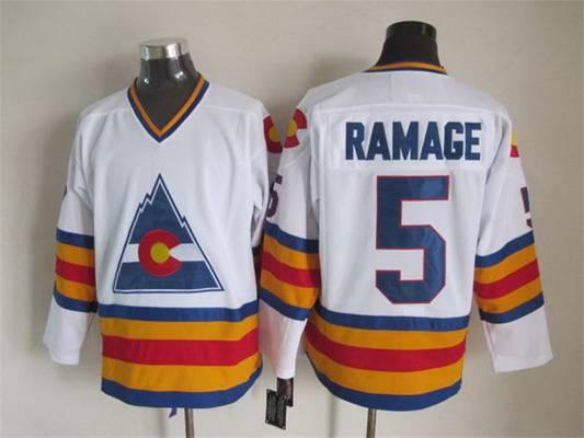 Men's Colorado Rockies #5 Rab Ramage 1976-77 White CCM Vintage Throwback Jersey