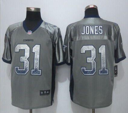 NFL Jerseys - Men's Dallas Cowboys #31 Byron Jones Nike Drift Fashion Gray Elite ...