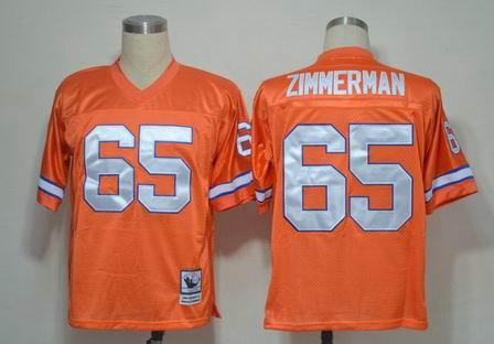 Men's Denver Broncos #65 Gary Zimmerman Orange Throwback Jersey