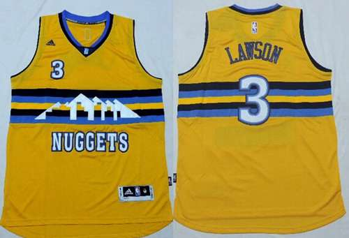 ... Mens Denver Nuggets 3 Ty Lawson Revolution 30 Swingman 2014 New Yellow  Jersey ... 24163b00d