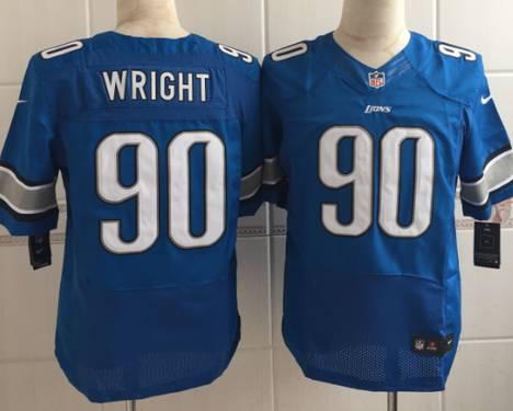 Nike NFL Mens Jerseys - Men's Detroit Lions #90 Gabe Wright Nike Light Blue Elite Jersey ...