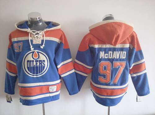b8a0bc6c218 ... Mens Edmonton Oilers 97 Connor McDavid Old Time Hockey Royal Blue Hoodie  ...