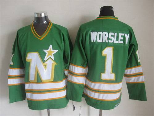 876c9f04f25 ... Mens Minnesota North Stars 1 Gump Worsley 1977-78 Green CCM Vintage  Throwback Jersey Old Time Hockey Mike ...
