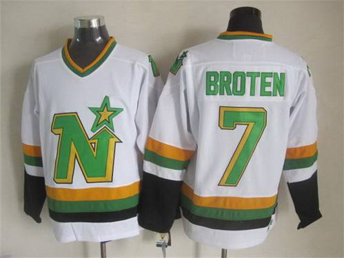 Men's Minnesota North Stars #7 Neal Broten 1988-89 White CCM Vintage Throwback Jersey