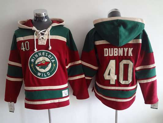 best website 0164d 7b40b mens minnesota wild 40 devan dubnyk old time hockey red hoodie
