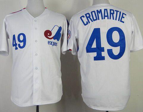 Men's Montreal Expos #49 Warren Cromartie 1982 White Mitchell & Ness Jersey