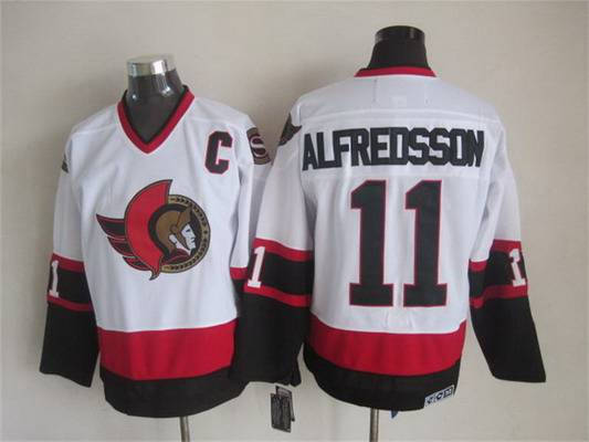 Men's Ottawa Senators #11 Daniel Alfredsson 1997-98 White CCM Vintage Throwback Jersey
