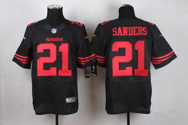 899f118713e ... scarlet red  mens san francisco 49ers 21 deion sanders 2015 nike black elite  jersey