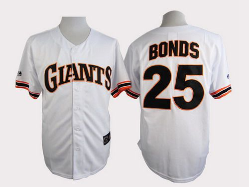 ... Mens San Francisco Giants 25 Barry Bonds 1989 Turn Back The Clock White  Throwback Jersey ...