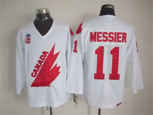 Men's Team Canada #11 Mark Messier 1991 Olympic White CCM Vintage