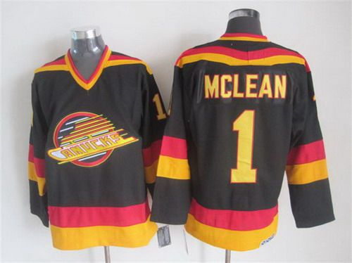 cfeeafc7795 ... Jersey Mens Vancouver Canucks 1 Kirk McLean 1985-86 Black CCM Vintage  Throwback .