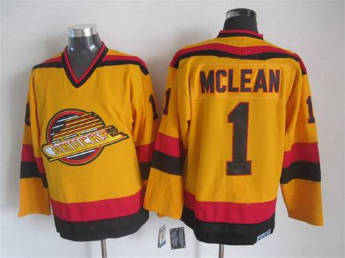 ... Mens Vancouver Canucks 1 Kirk McLean 1985-86 Yellow CCM Vintage  Throwback Jersey ... 9e7077558