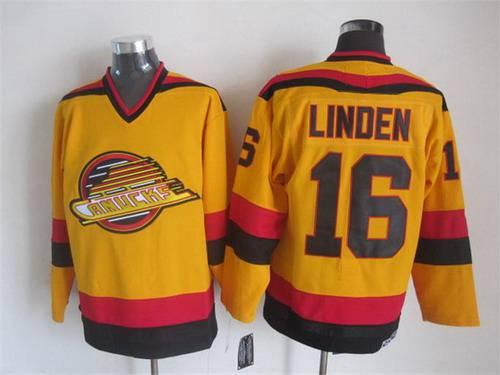 ce1904508 ... Mens Vancouver Canucks 16 Trevor Linden 1985-86 Yellow CCM Vintage  Throwback Jersey ...