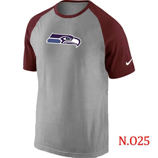 c658d406b ... Mens Seattle Seahawks Ash Tri Big Play Raglan T-Shirt Grey- Red Seattle  Seahawks Nike Womens ...
