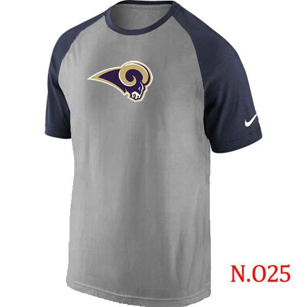 ... Mens St.Louis Rams Ash Tri Big Play Raglan T-Shirt Grey- Navy ... 03cf81e37