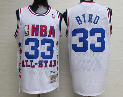 NBA 1990 All-Star #33 Larry Bird White Hardwood Classics Soul Swingman Throwback Jersey