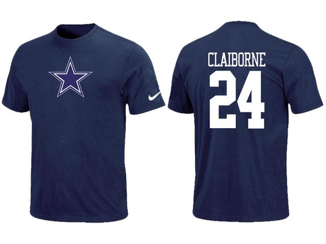 17147544a ... Nike Dallas Cowboys 24 CLAIBORNE Name Number T-Shirt Blue ...