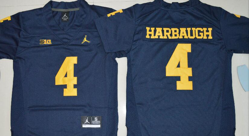 Men's Michigan Wolverines #4 Jim Harbaugh Navy Blue Stitched NCAA Brand Jordan College Football Jersey