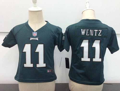 Toddler Philadelphia Eagles #11 Carson Wentz Green Team Color Stitched NFL Nike Game Jersey