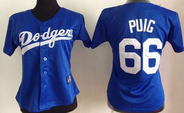 cheap for discount 097d6 60bc1 womens los angeles dodgers 66 yasiel puig blue jersey
