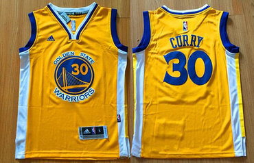 Youth Golden State Warriors #30 Stephen Curry Yellow Swingman adidas Baseketball Jersey