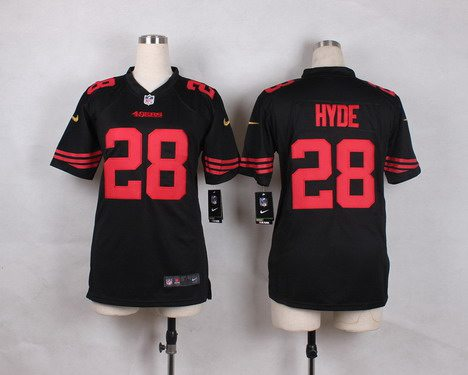 f297ef99c ... Youth San Francisco 49ers 28 Carlos Hyde 2015 Nike Black Game Jersey  Nike San Francisco 49ers Womens 28 Carlos Hyde Elite ...