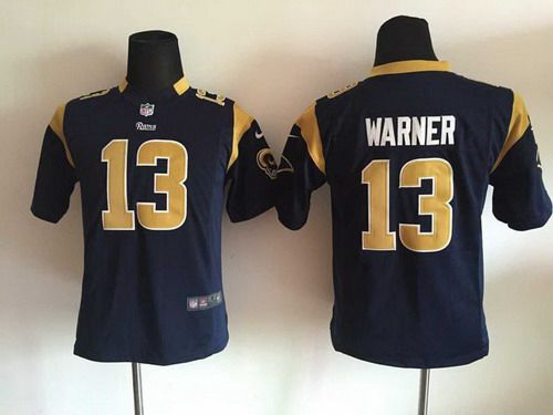 pretty nice 86e2b c8c52 youth st. louis rams 13 kurt warner nike navy blue game jersey