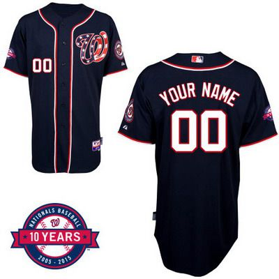 f3ae3e9ea Youth Washington Nationals Personalized Alternate Navy Blue Jersey With  Commemorative 10th Anniversary Patch
