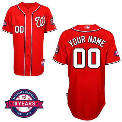e95ae365f Youth Washington Nationals Personalized Alternate Red Jersey With  Commemorative 10th Anniversary Patch