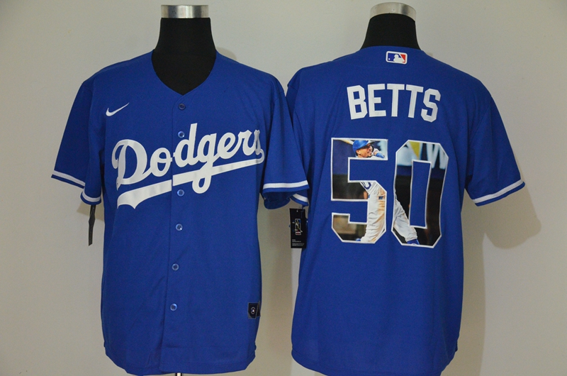 Men's Los Angeles Dodgers #50 Mookie Betts Blue Unforgettable Moment Stitched Fashion MLB Cool Base Nike Jerseys